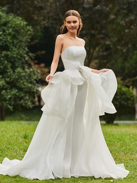 A-Line Strapless Ruffles Wedding Dress