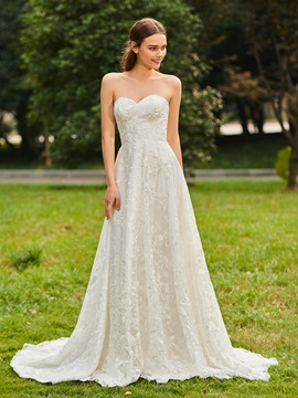 Strapless Lace Wedding Dress with Long Sleeve Jacket & Wedding Dresses under 100