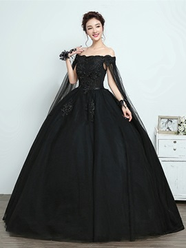 Bateau Appliques Cap Sleeves Black Quinceanera Dress & vintage Wedding Dresses