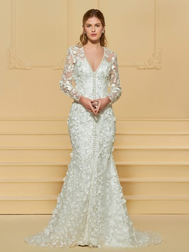 Long Sleeve Pearls Lace Mermaid Wedding Dress & Wedding Dresses from china