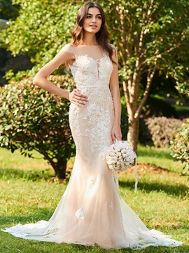 Appliques Beading Mermaid Wedding Dress