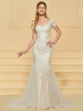 Short Sleeve Mermaid Appliques Wedding Dress