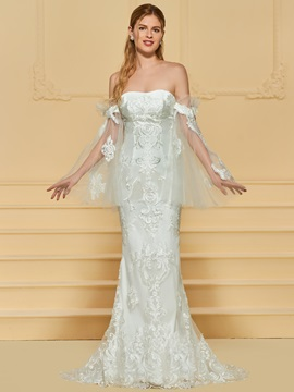 Appliques Off the Shoulder Mermaid Wedding Dress