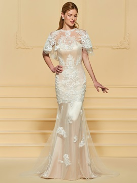 Mermaid Appliques Wedding Dress with Shawl