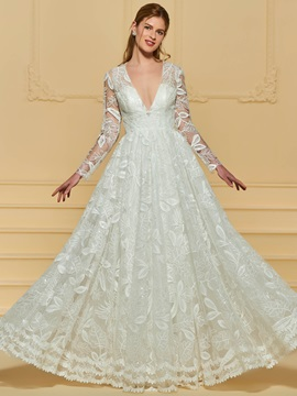 Deep V-Neck Sequins Lace Long Sleeve Wedding Dress & Wedding Dresses for less