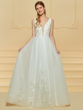 Deep V-Neck Beading Appliques Wedding Dress