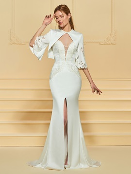 Appliques Split-Front Wedding Dress with Jacket