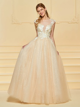 Illusion Neck Beaded Appliques Wedding Dress