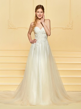 Sequins Appliques Sweetheart Wedding Dress