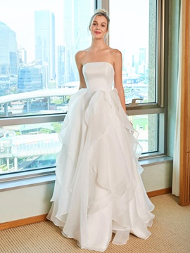 Strapless Ruffles Beach Wedding Dress