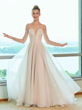 Beading Long Sleeve Wedding Dress