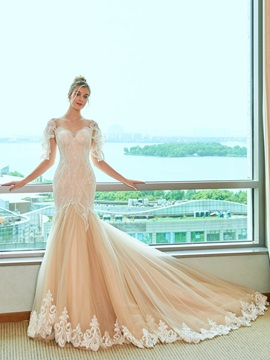 Illusion Neck Lace Mermaid Wedding Dress