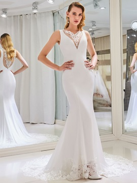 Appliques Button Back Mermaid Wedding Dress
