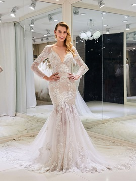 Deep V-Neck Appliques Lace Mermaid Wedding Dress