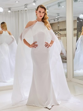Mermaid Open Wedding Dress with Watteau Train