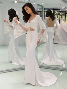 V-Neck Appliques Mermaid Backless Wedding Dress