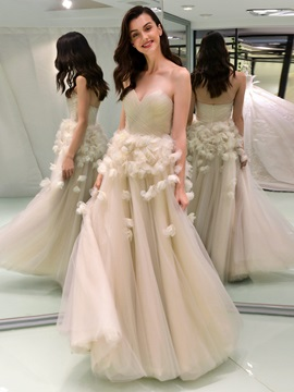 A-Line Sweetheart 3D Floral Wedding Dress
