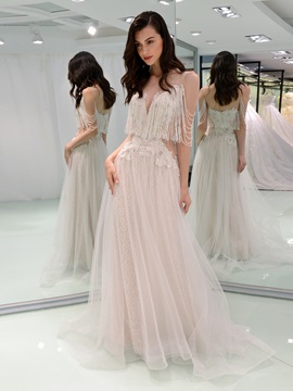 Illusion Neck Beaded Tassel Wedding Dress & vintage Wedding Dresses