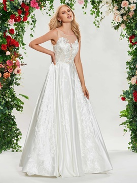 Illusion Neck Embroidery Appliques Wedding Dress