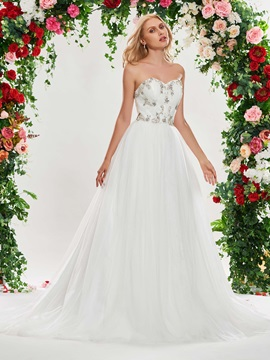 A-Line Beading Lace-Up Wedding Dress