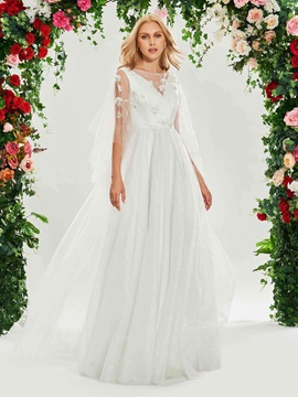 Bateau Neck Flowers Beading Wedding Dress