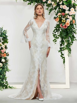 Long Sleeve Split-Front Lace Wedding Dress