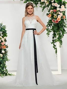 Beaded Appliques Sashes Wedding Dress