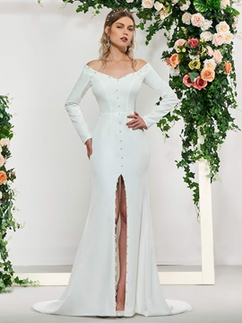 Button Mermaid Wedding Dress with Long Sleeve