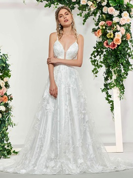Spaghetti Straps A-Line Lace Wedding Dress