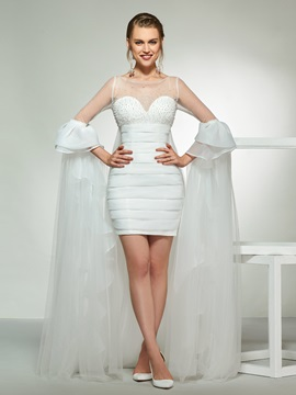 Long Sleeve Beading Column Beach Wedding Dress & fairytale Wedding Dresses