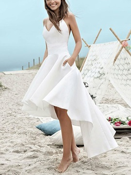 Spaghetti Straps Pockets High Low Beach Wedding Dress