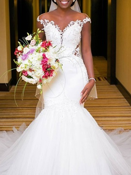 Cap Sleeve Appliques Mermaid Wedding Dress