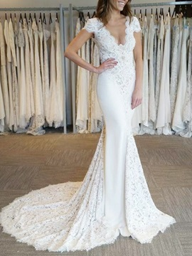 Short Sleeves V-Neck Lace Mermaid Wedding Dress