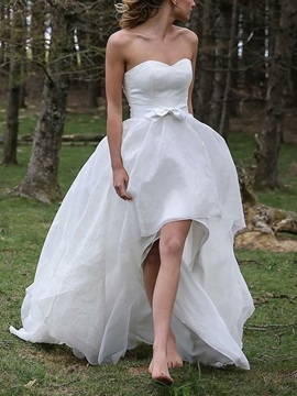 Bowknot A-Line Asymmetry Beach Wedding Dress & Wedding Dresses 2012