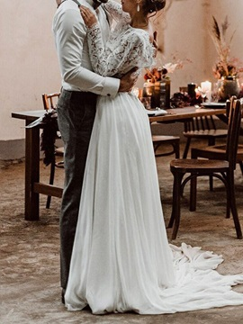 Lace Long Sleeves Two Pieces Beach Wedding Dress 2019