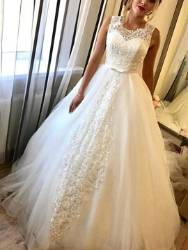 Lace Scoop Neck Bowknot Wedding Dress 2019