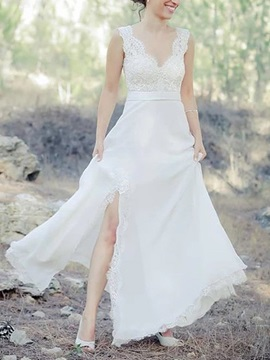 A-Line Appliques Button Beach Wedding Dress