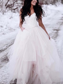 Straps Button Lace Outdoor Wedding Dress & Wedding Dresses on sale