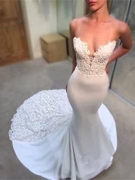 Appliques Court Train Mermaid Wedding Dress 2019
