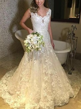 Appliques A-Line V-Neck Sleeveless Church Wedding Dress