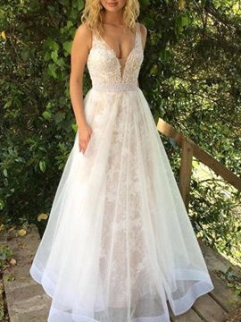 A-Line V-Neck Appliques Beading Wedding Dress 2019