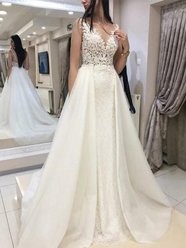 V-Neck Appliques A-Line Wedding Dress 2019