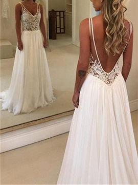 Appliques V-Neck Backless Beach Wedding Dress 2019