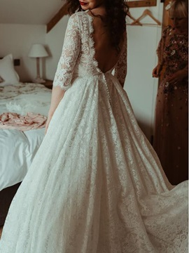 Scoop Half Sleeves Lace Beach Wedding Dress 2019