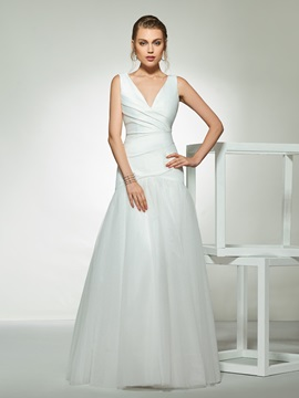 Trumpet V-Neck Pleats Wedding Dress 2019