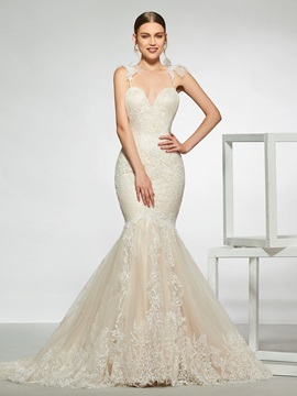 Spaghetti Straps Mermaid Lace Wedding Dress 2019 & Wedding Dresses under 300