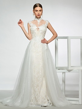 High Neck Appliques Wedding Dress 2019 with Removable Train