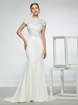 Cap Sleeves Lace Mermaid Wedding Dress 2019