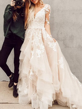 Cascading Ruffles Appliques Long Sleeves Wedding Dress 2019