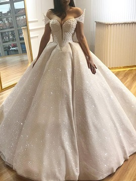 Ball Gown Sweetheart Pearls Sequins Wedding Dress 2019